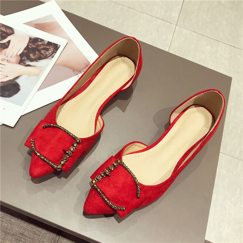 Womens D'Orsay Metal Solid Color Low Heels Shoes