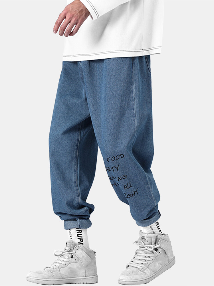 Mens Letter Print Cotton Solid Zipper Fly Mid Waist Casual Jeans