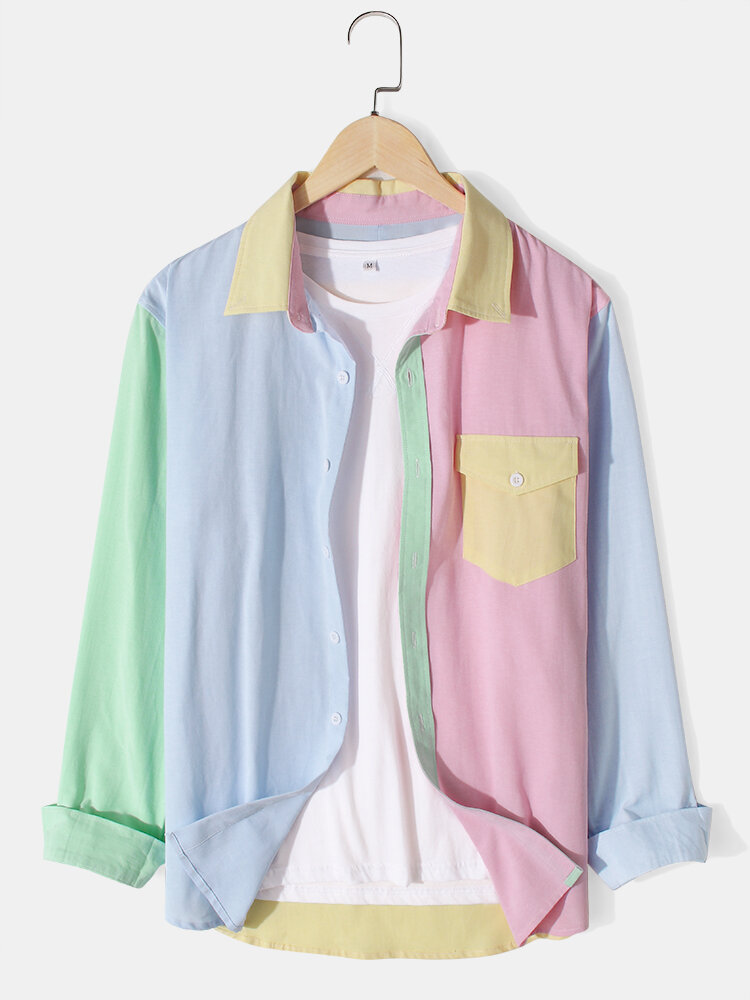 Mens Designer Macaron Colorblock Lapel Long Sleeve Shirts With Flap Pocket