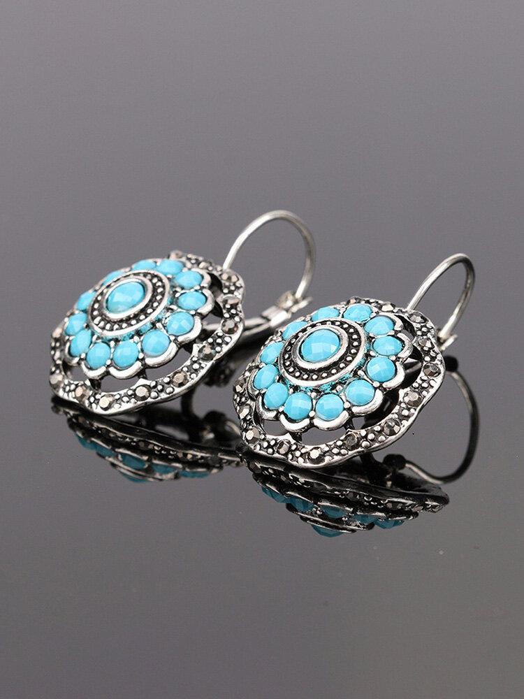 Vintage Ear Drop Earrings Hollow Blue Flower Plant Ear Hoop Ethnic Jewelry for Women
