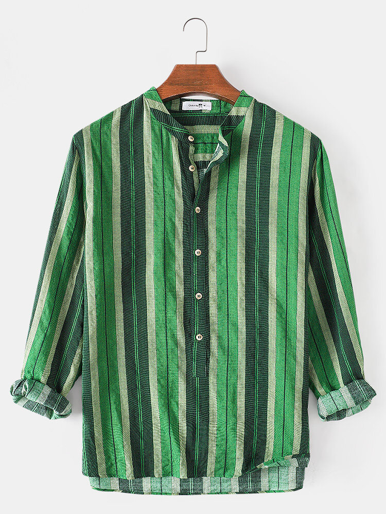 Mens Stripe High Low Hem Casual Loose Fit Long Sleeve Henley Shirts