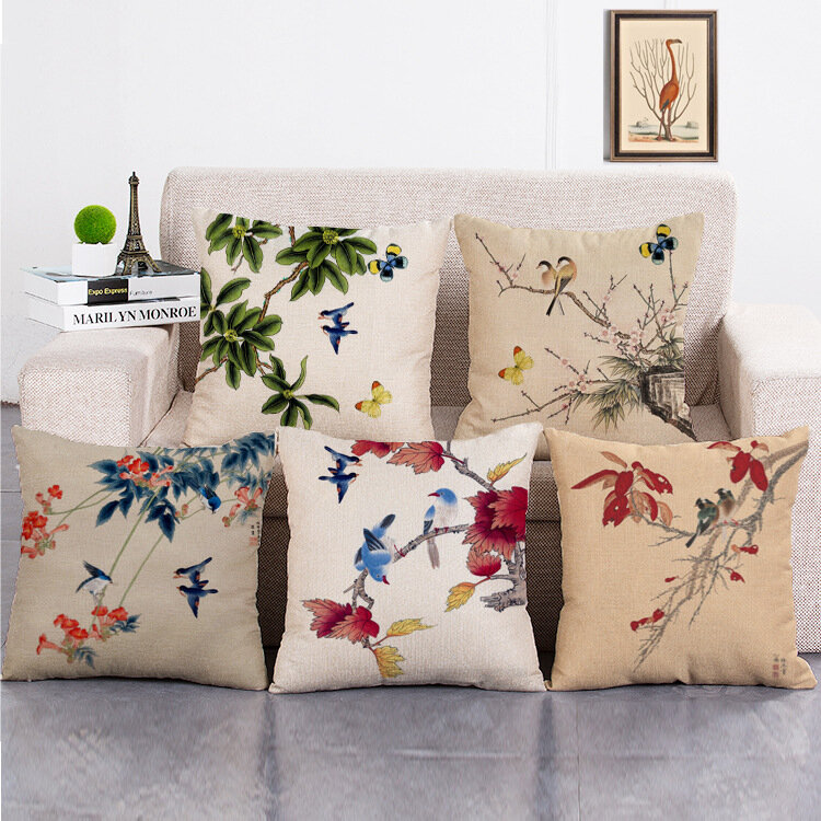Ink Painting Flower Cotton Linen Cushion Cover Home Decro Sofa Car Pillow Cases