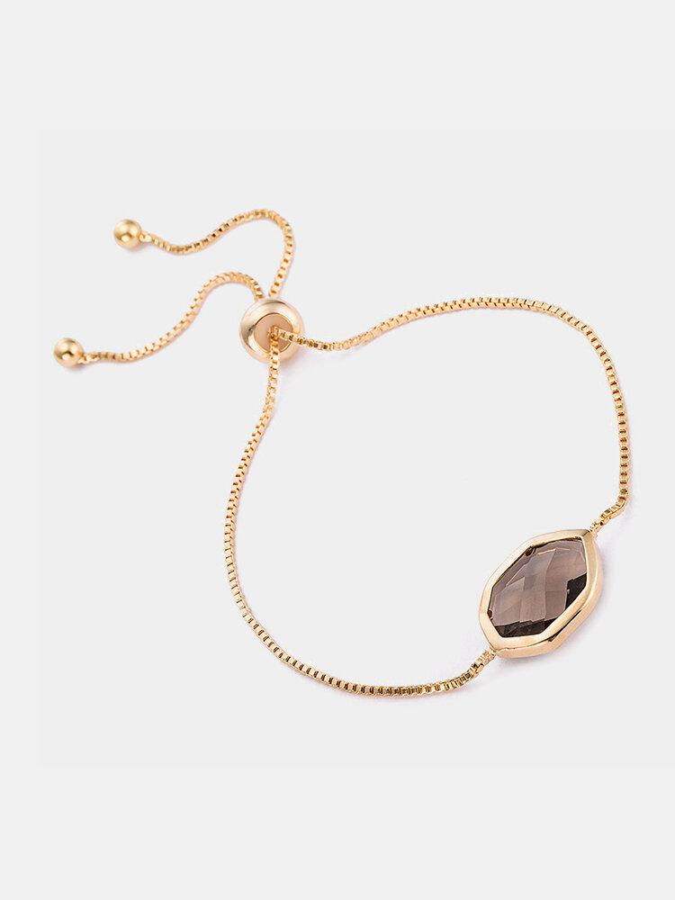 Vintage Women Bracelet Hexagonal Crystal Alloy Bracelet