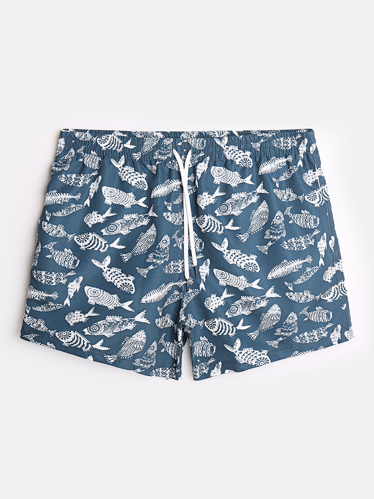 Mens Vintage Fish Pattern Quick Dry Swim Trunk With Mesh Lined