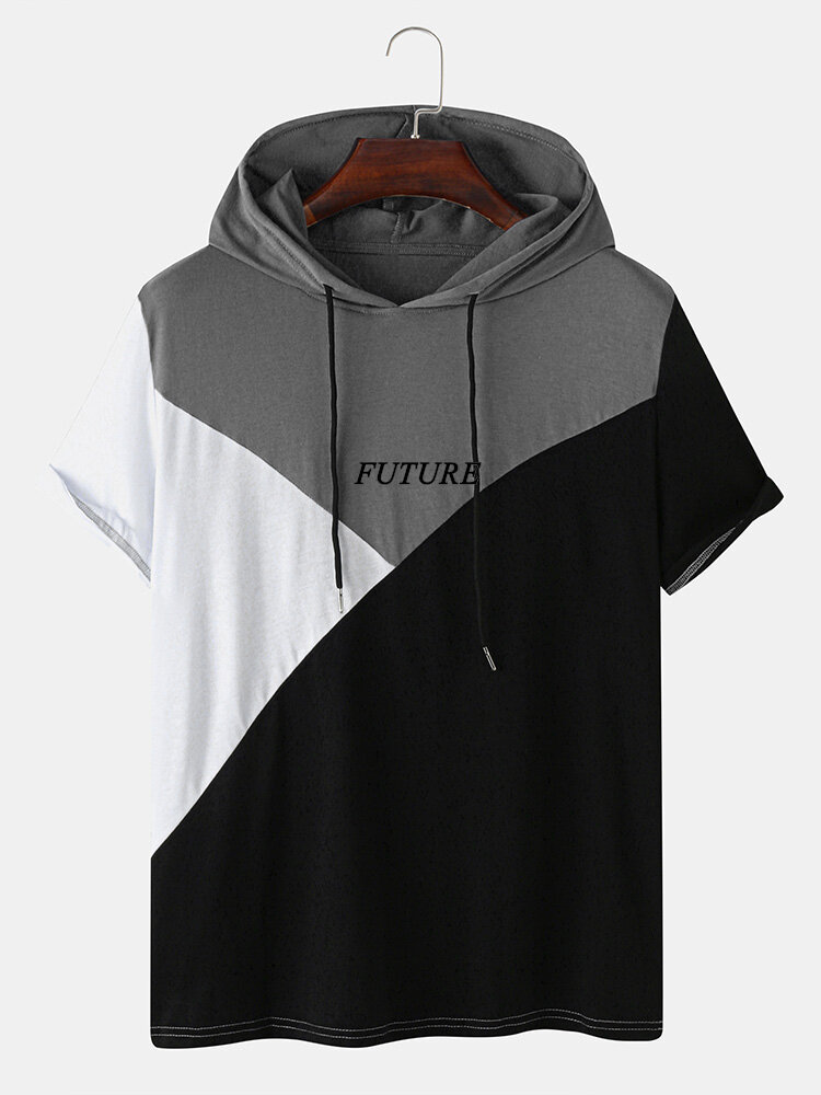 Mens Letter Print Colorblock Stitching Hooded Short Sleeve T-Shirt