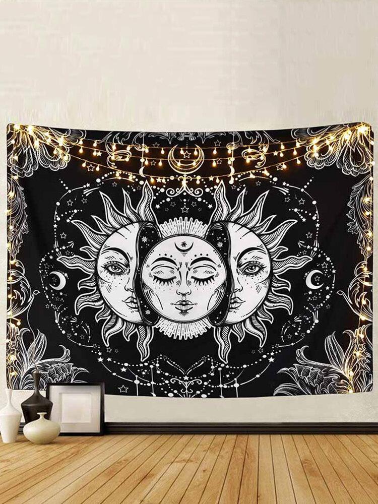 Настенный гобелен с луной и солнцем, мандала, украшение в богемном стиле
