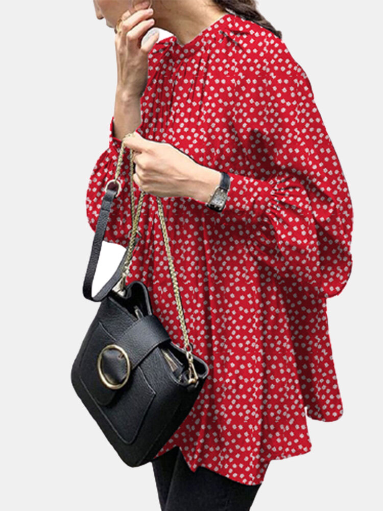 Floral Printed Puff Sleeve O-neck Casual Blouse For Women