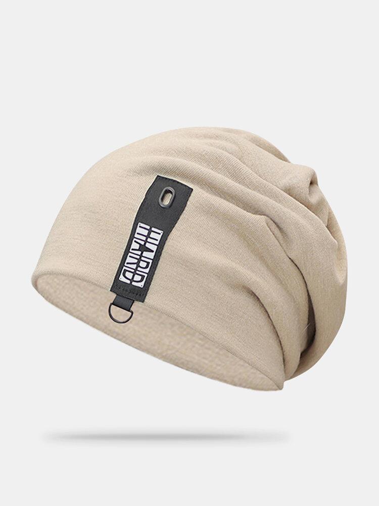 Cappello lavorato a maglia con doppio berretto in cotone solido casual da donna in cotone caldo all'aperto