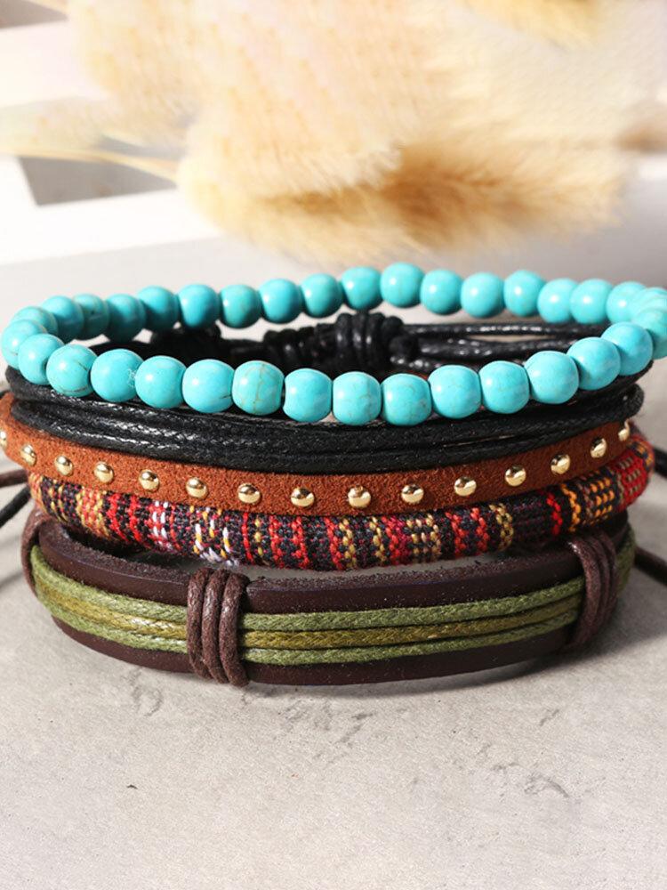Casual Unisex Multilayer Bracelets Adjustable Woven Beads Leather Bracelets for Women Men