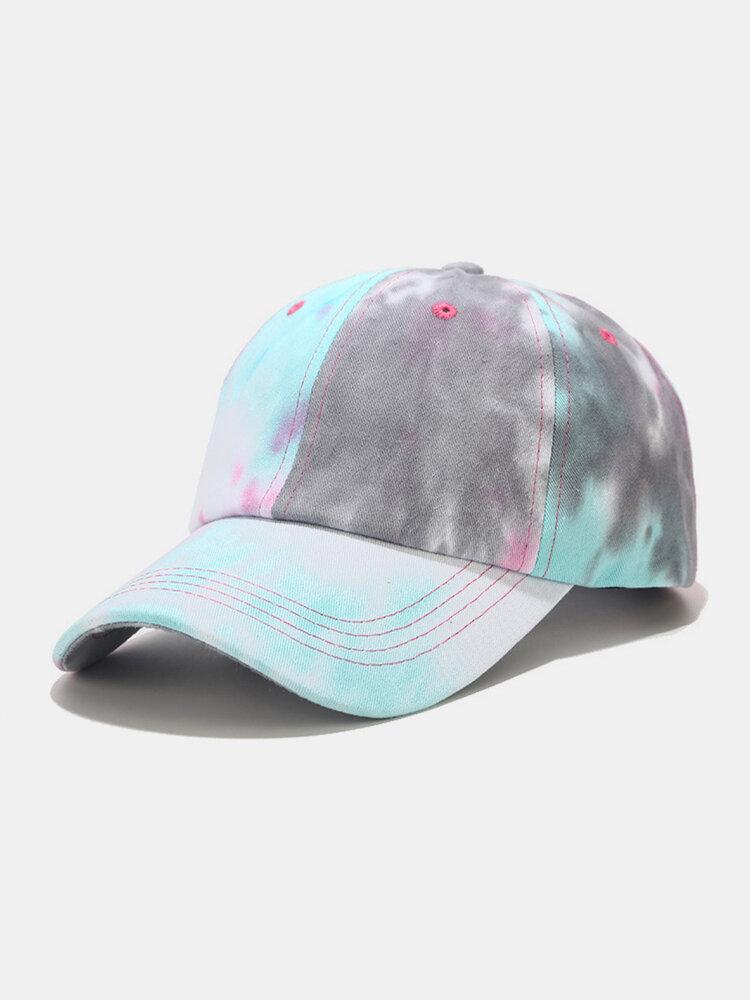 Unisex Cotton Tie-dye Contrast Color Fashion Sunshade Baseball Hat