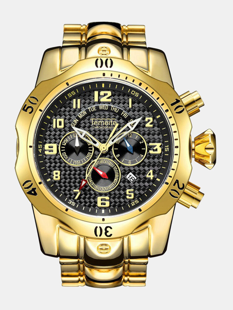 Large Dial Men Business Watch Multifunctional Luminous Calendar Waterproof Quartz Watch