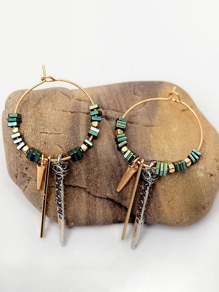 African Green Ore Texture Earrings Geometric Circle Ear Drop For Women