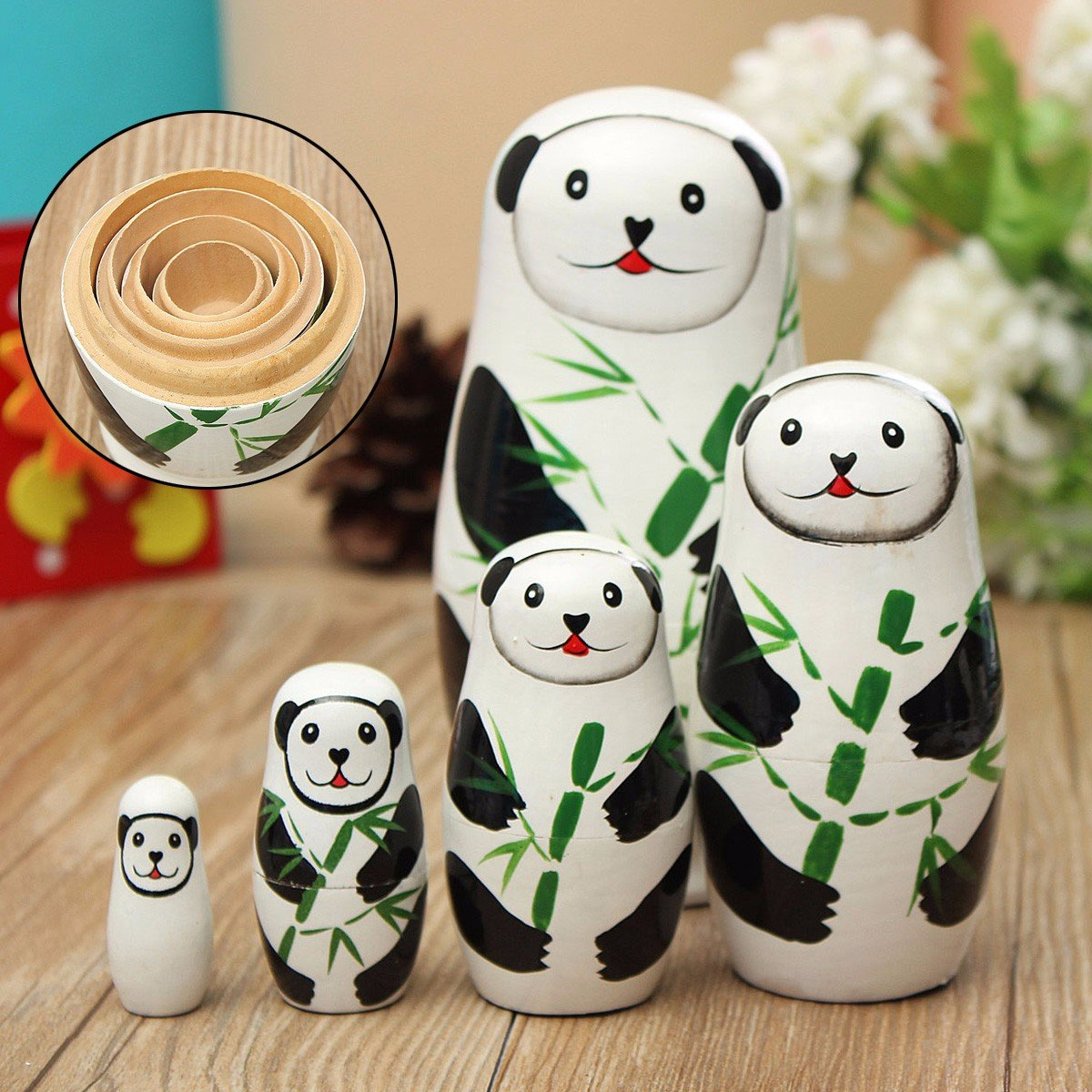 5 Pcs Panda Russian Wood Nesting Doll Matryoshka Stacking Dolls Tricky Toys Creative Gift