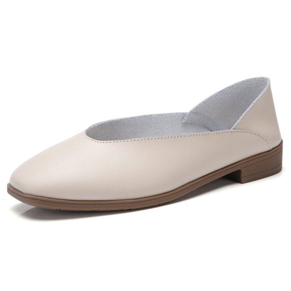 Square Toe Low Heel Leather Casual Flat Shoes