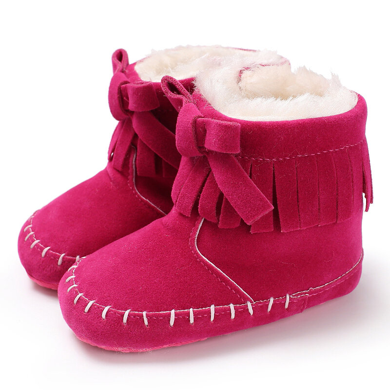 Baby Toddler Shoes Tassel Bowknot Decor Warm Plush Lining Soft Snow Boots