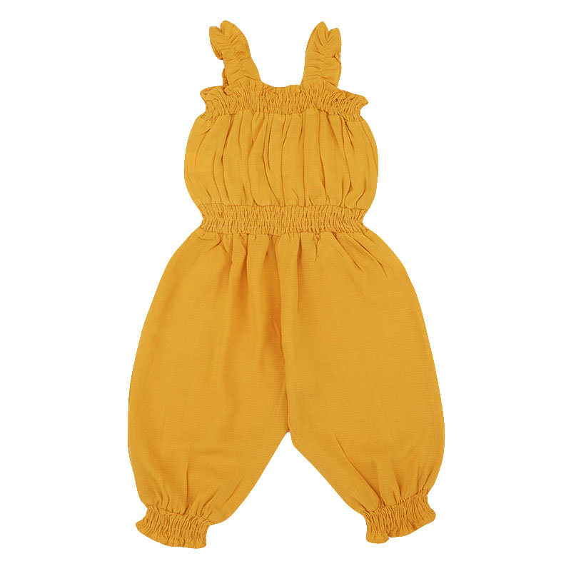 Summer Baby Sleeveless Strap Yellow Jumpsuit For 0-36M