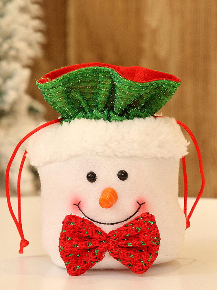 1Pcs  Flannel Christmas Candy Bag Gift Bag Home Christmas Eve Gift Bag for Kids Adult