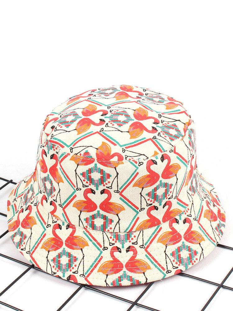 Women Print Flamingo Canvas Bucket Hat Outdoor Sunshade Fisherman Cap