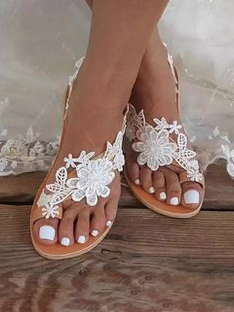 Large Size Women Beach Flower Lace Strappy Clip Toe Sandals