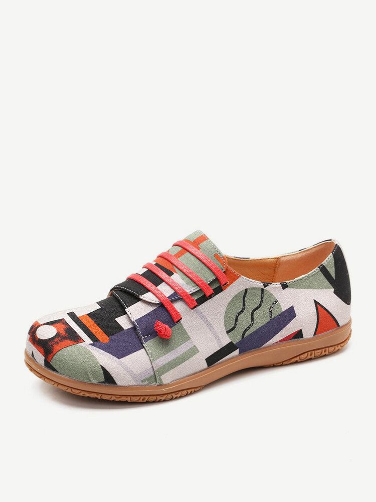 LOSTISY Unregelmäßiges Muster Exklusiv verkauft Lazy Slip On Flat Shoes