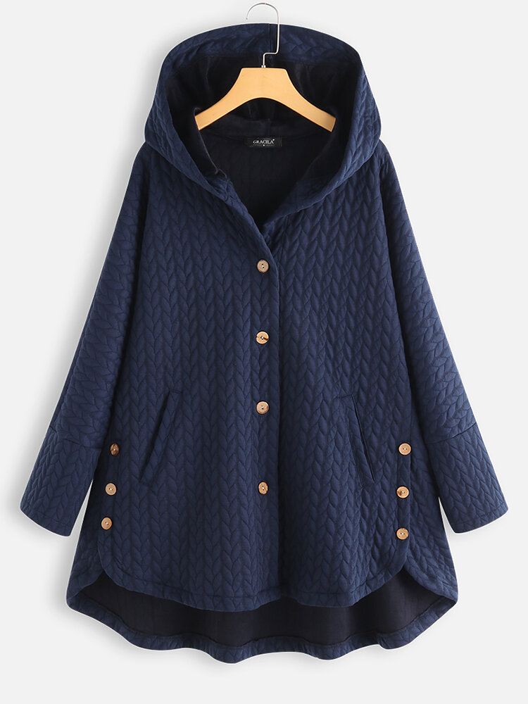 Casual Jacquard Pockets High Low Thin Loose Hooded Coat