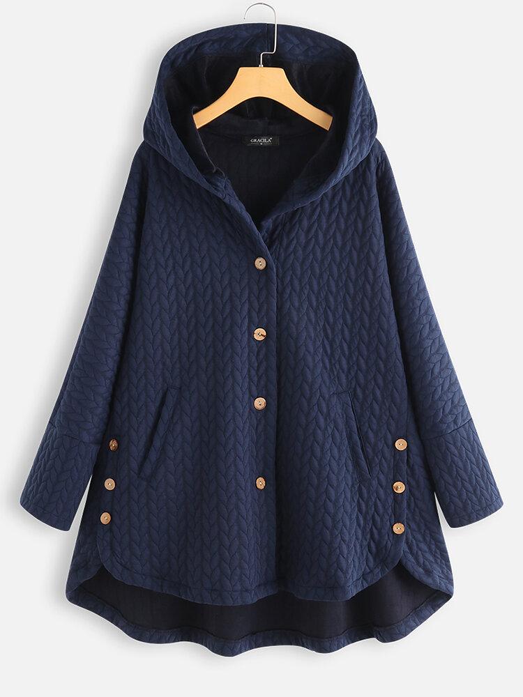 Lässige Jacquard-Taschen High Low Thin Loose Hooded Coat