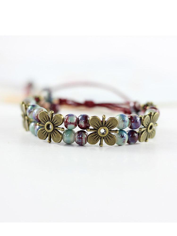 Ceramics Alloy Vintage Ethnic Flower Glaze Full Bead Bracelet Double Layer Bracelet