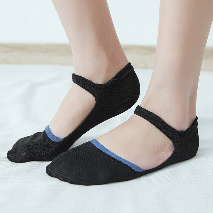 Women Cotton Lace-up Hollow Invisible Ankle Socks Breathable Anti-skid Soft Boat Socsk