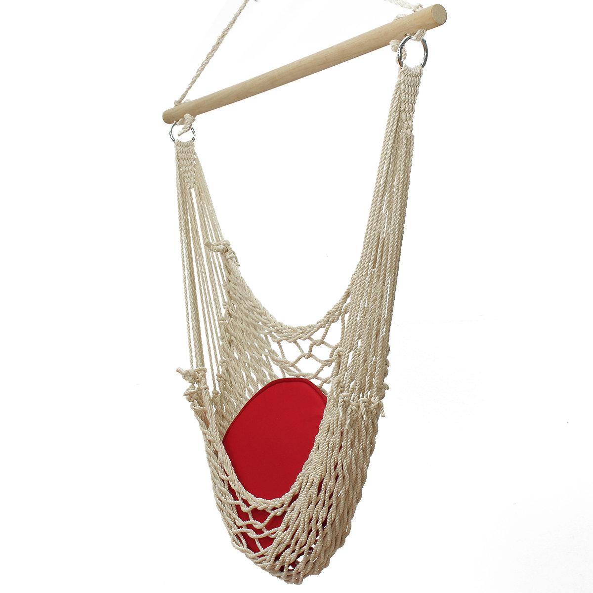 掛かる振動庭のテラスのハンモックの椅子の綿ロープの木棒白いハンモックの椅子