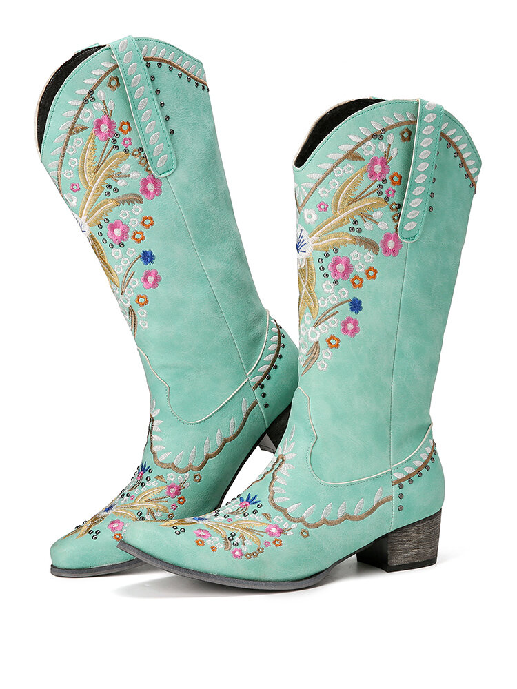 Large Size Women Flowers Embroidered Chunky Heel Slip On Cowboy Boots