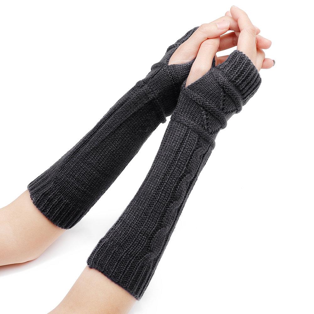 32 سنتيمتر المرأة الشتاء الحياكة الصلبة اللون أصابع الأكمام عارضة ركوب قفازات نصف الاصبع الدافئة