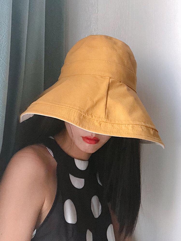 Women Summer Long Brim Foldable Fisherman's Hat Double-side Outdoor Beach Sun Protective Visor Cap