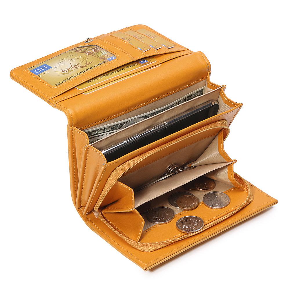 女性プレーン3つ折り財布カードホルダー小銭入れ電話バッグ
