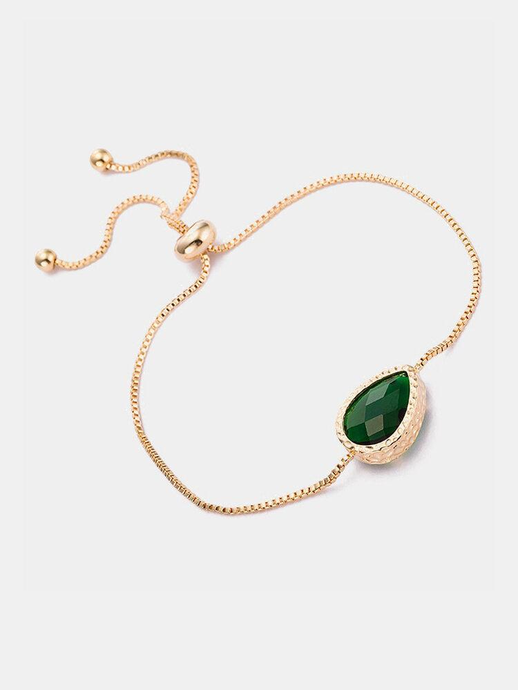 Simple Women Bracelet Oval Crystal Alloy Chain Bracelet