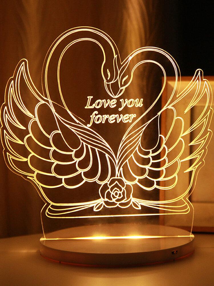 Schwan 3D LED Nachtlicht USB Powered Touch Control Weihnachten Valentinstag Geschenk Home Decor