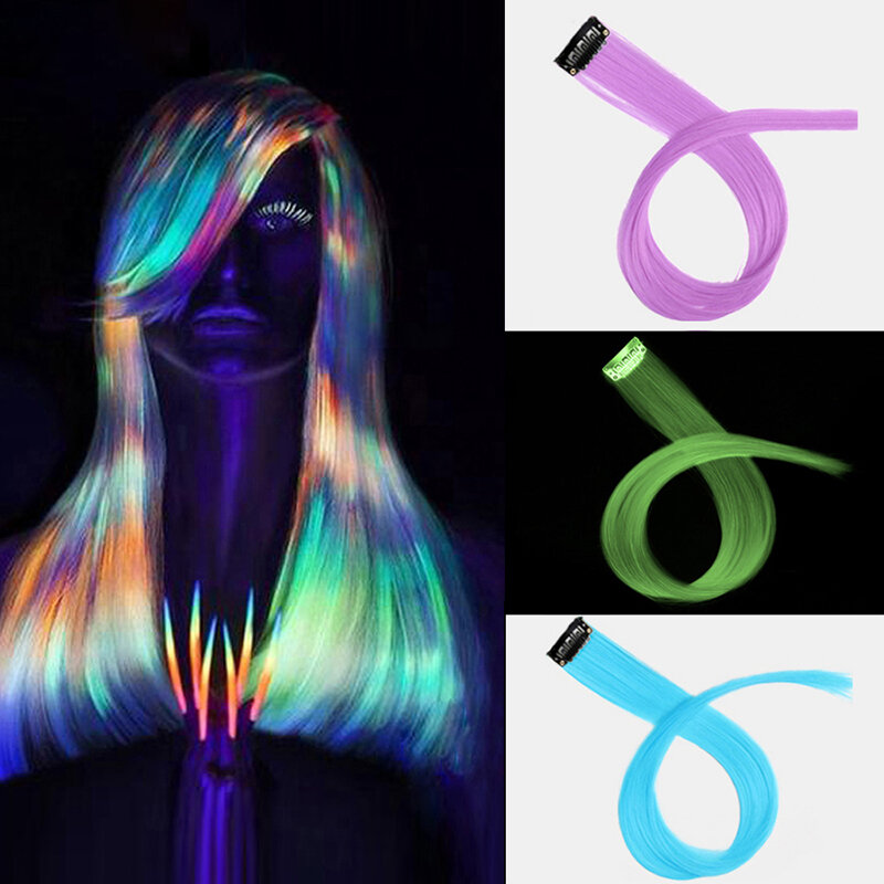 11 Colors Luminous Long Straight Wig Halloween Single Clip Synthetic Hair Extensions