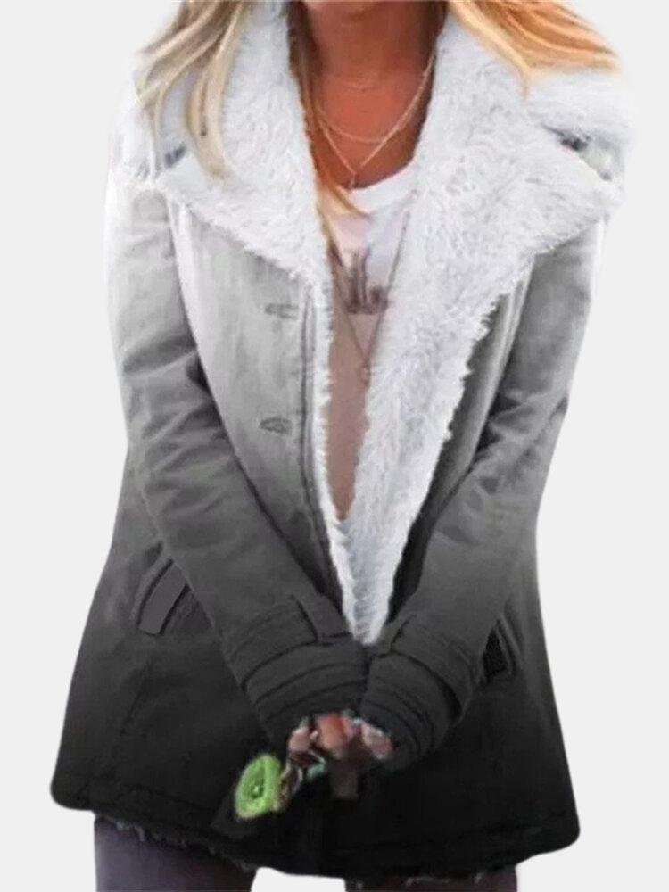 Ombre Long Sleeve Lapel Collar Winter Thicken Coat For Women