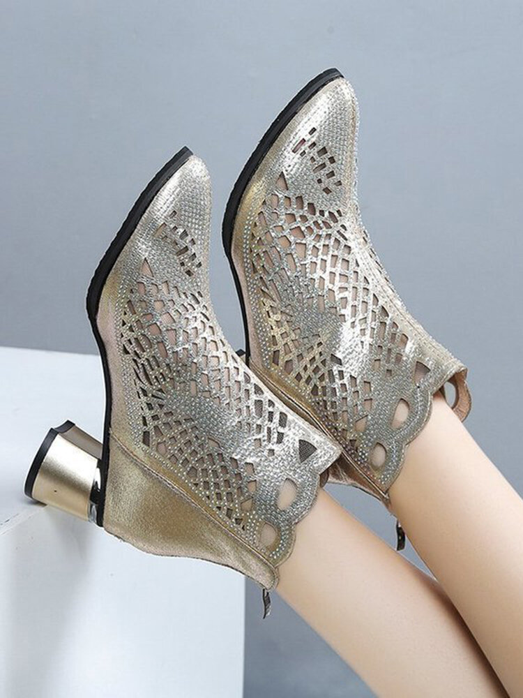 Women Casual Breathable Hollow Out Back Zip Chunky Heels Ankle Boots