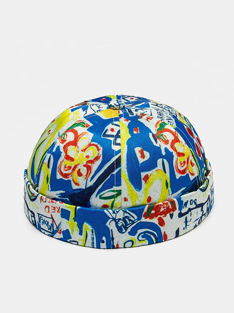 Unisex Polyester Cotton Colorful Graffiti Printing Vintage Brimless Beanie Landlord Cap Skull Cap