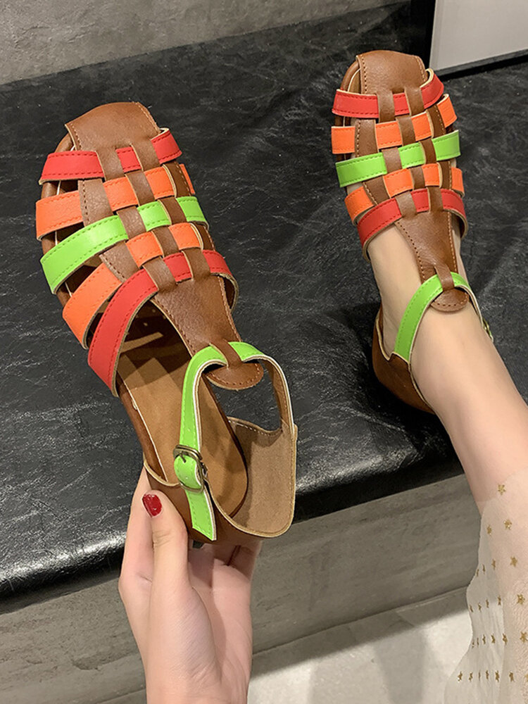 Women Ethnic Braided Colorblock Closed Toe Buckle Flat Sandals