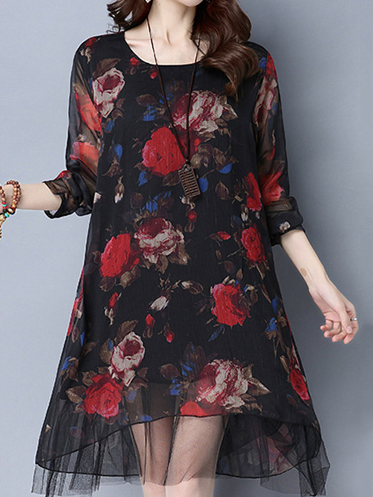d99fefeb89070 Vintage Women Long Sleeve Floral Printed Fake Two Pieces Dresses Online -  NewChic