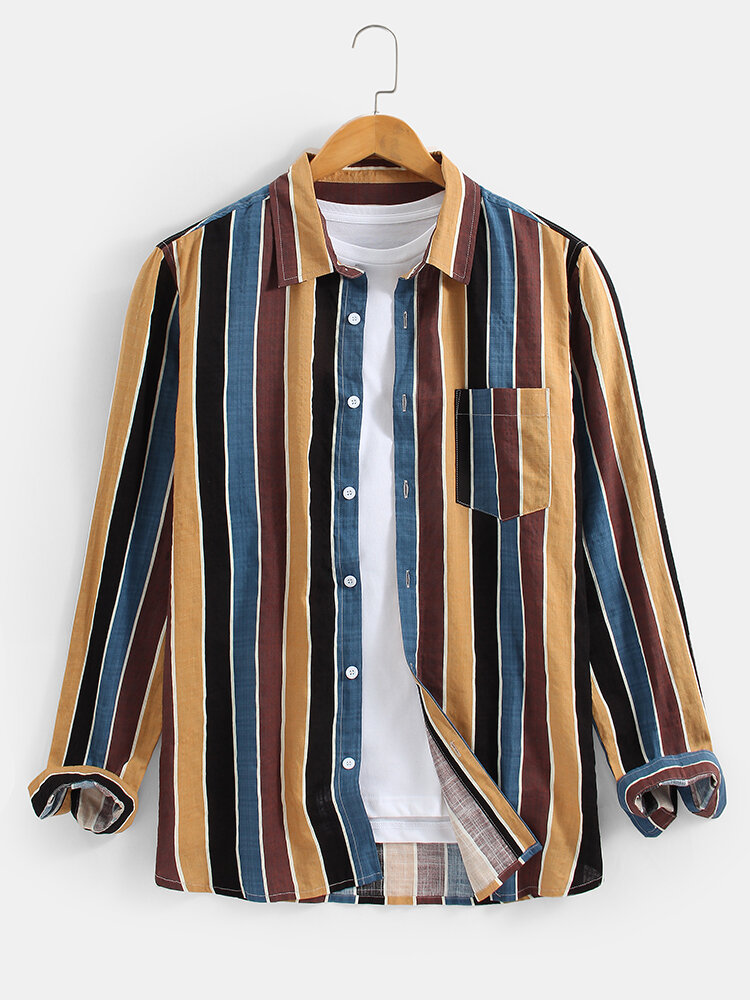Mens Cotton Colorful Striped Print Daily Fit Long Sleeve Shirts With Pocket