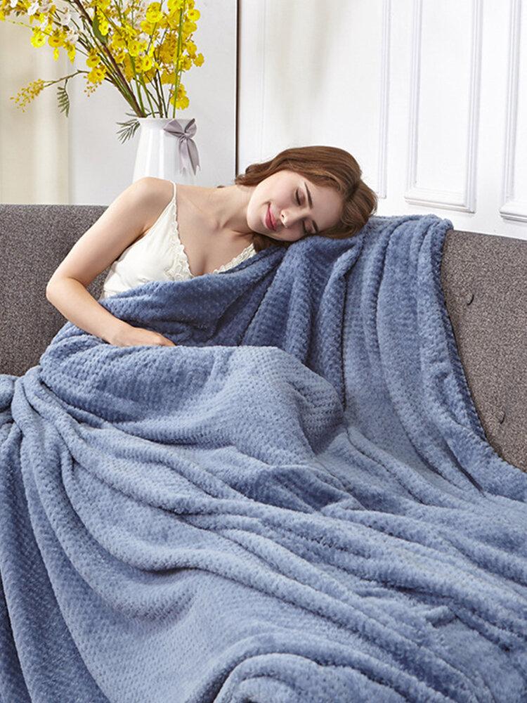 152x234cm Density Super Soft Blanket Sofa Bed Plush Fluffy Pineapple Grid Blanket