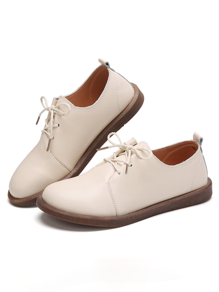 Women's Solid Color Lace Up Breathable Flat Oxfords Shoes