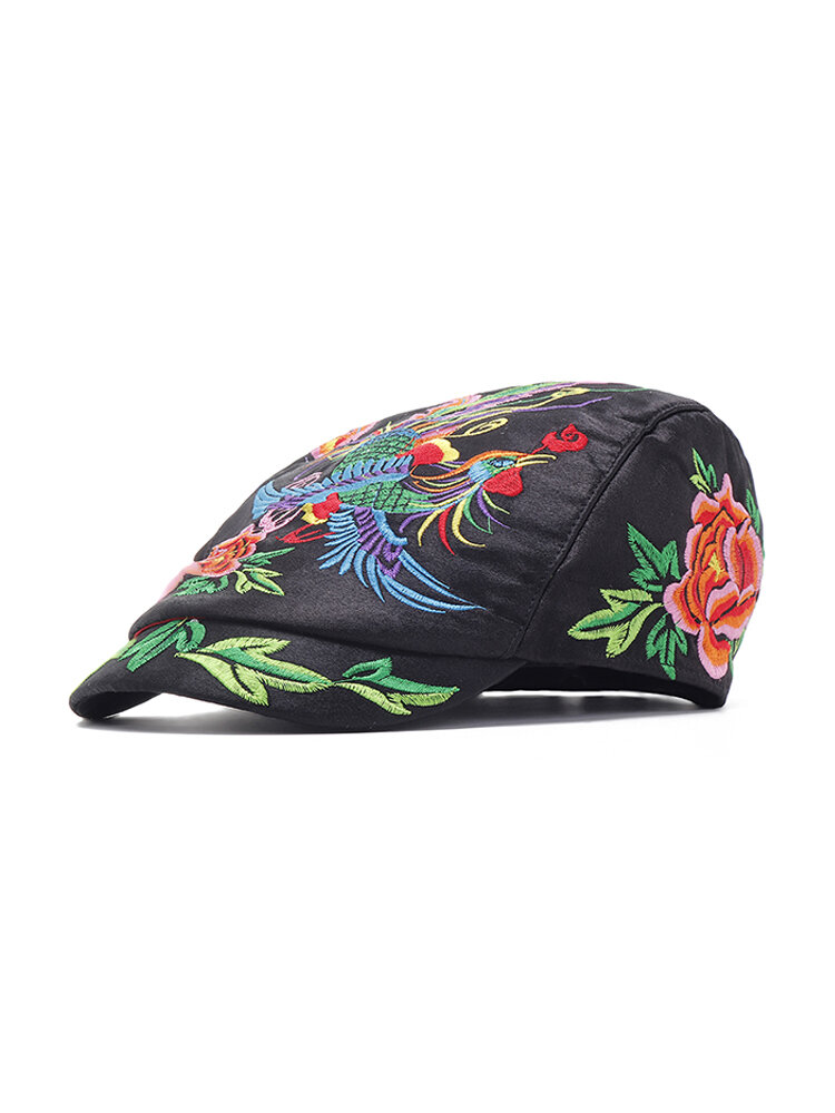 Women Embroidery National Style Sun Hat Vintage Breathable Adjustable Beret Cap