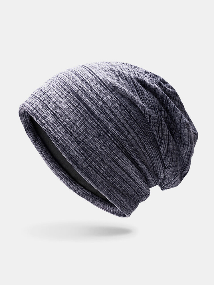 Women & Men Striped Warm Outdoor Solid Color Casual Personality Brimless Beanie Hat