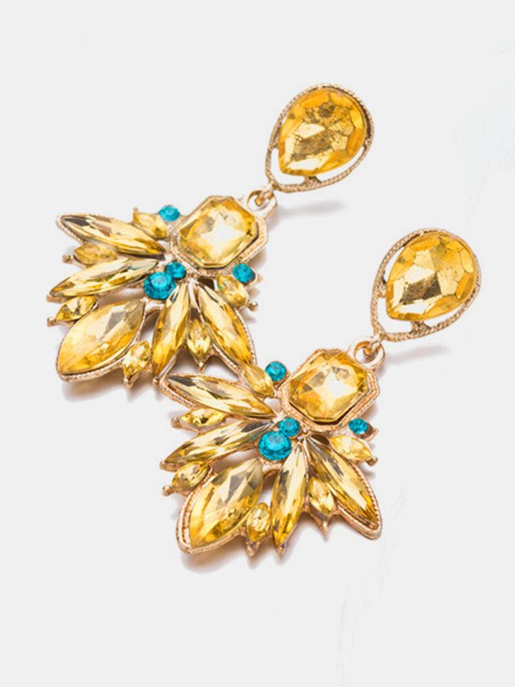 Bohemian Artificial Gem Earrings Yellow Blue Long Style Earrings For Women