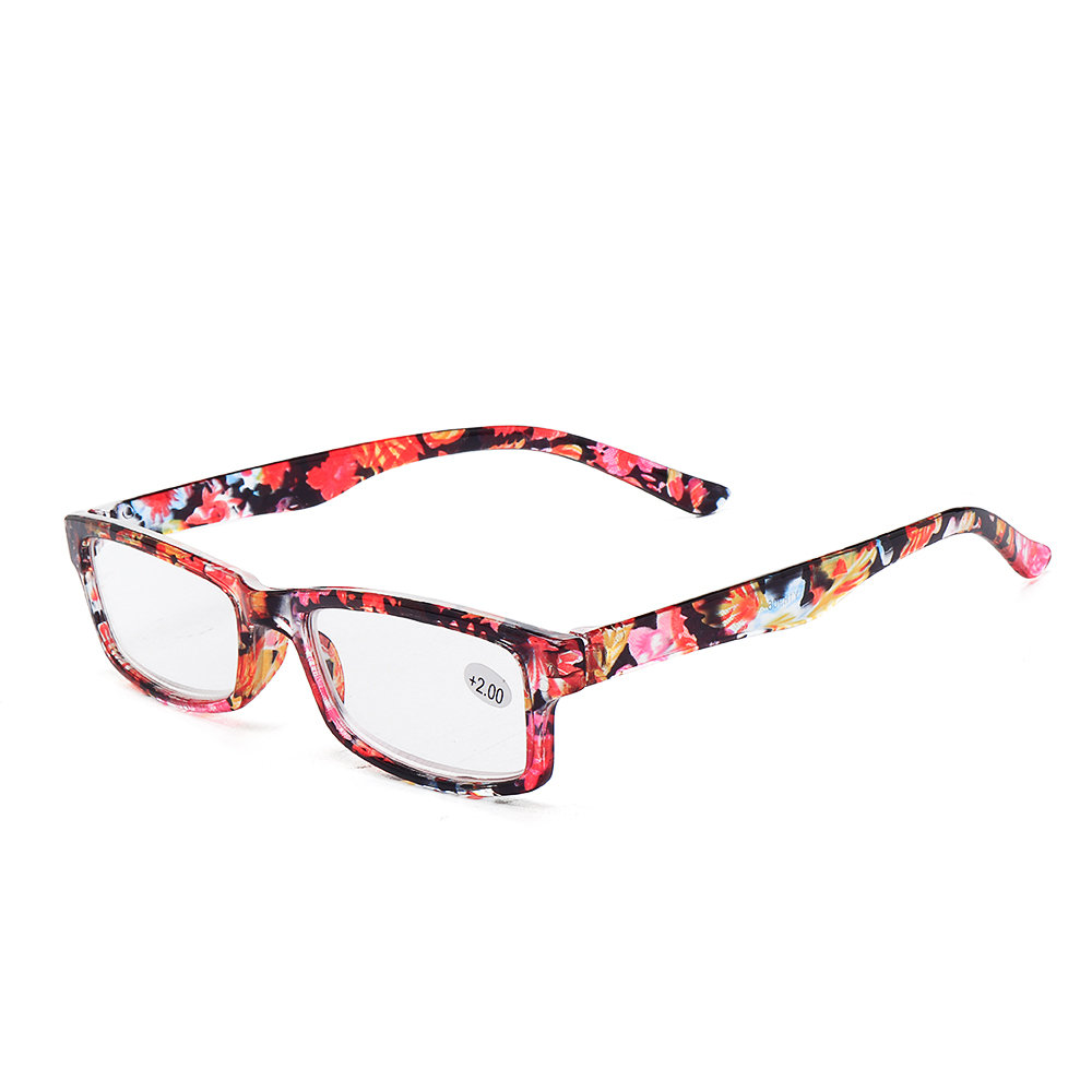 Women's Print Fashion Vintage Flower Resin PC Computer Square Reading Glasses