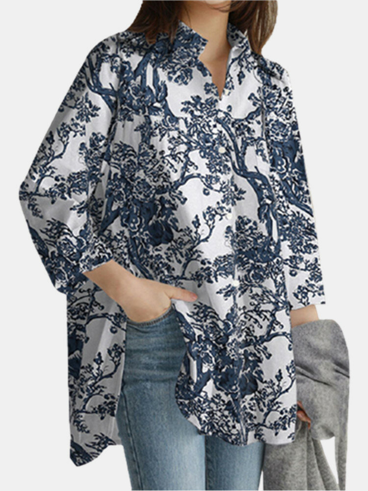 Print Long Sleeve Lapel Plus Size Linen Shirt with Button