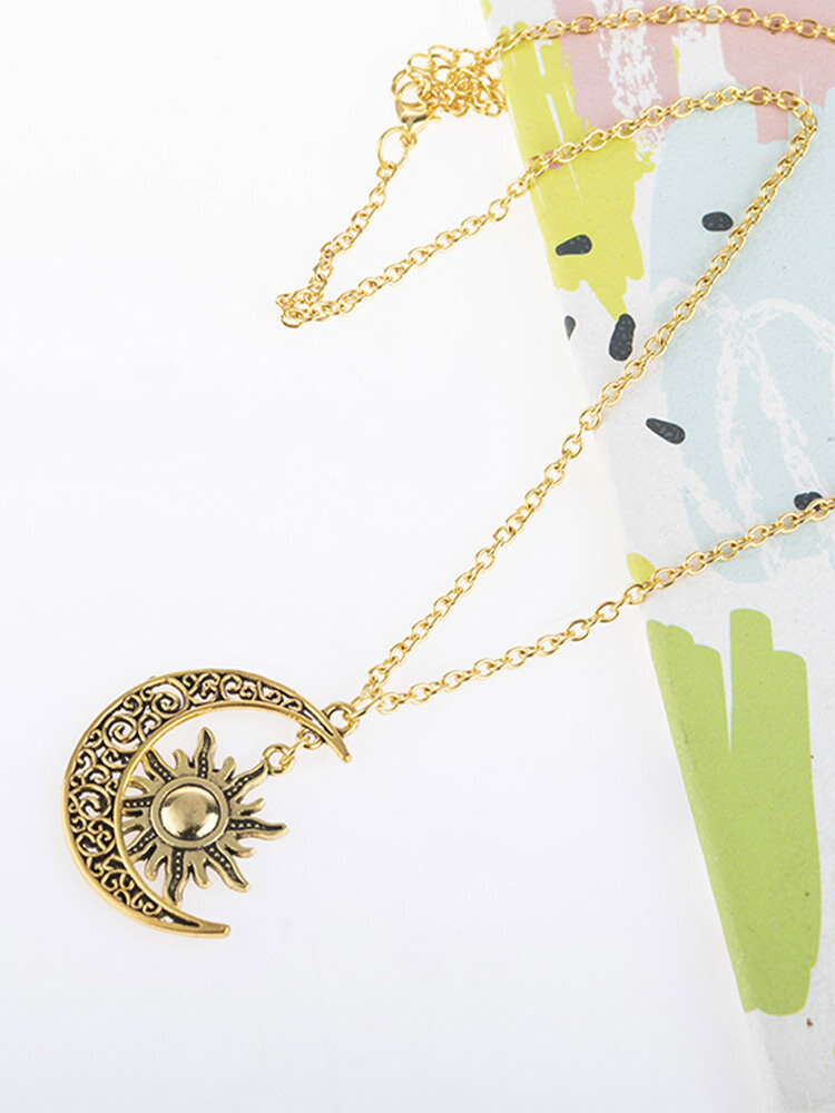 Trendy Carved Sun Moon Shape Alloy Necklace